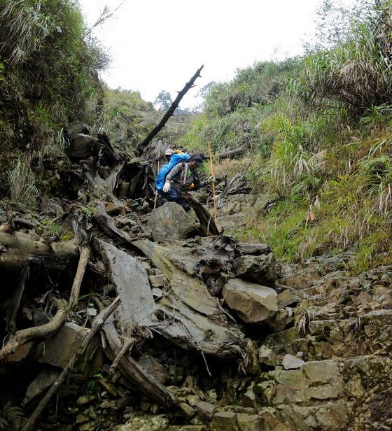 ▲南投林管處水里工作站巡護人員冒著生命危險小心翼翼橫越沖蝕山溝。