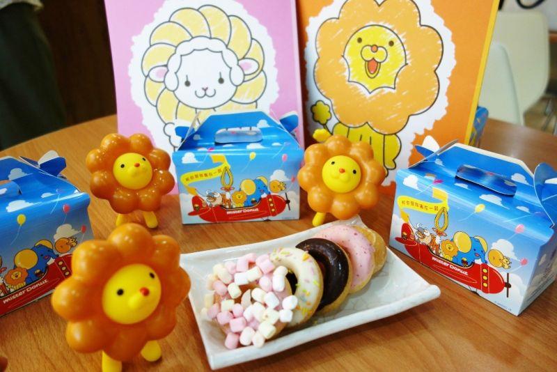 Mister Donut針對兒童客層即日起推出兒童5Q禮盒,運用最具Q彈口感的波堤甜甜圈體、4種沾醬及2種糖果做搭配。(圖/Mister Donut提供)