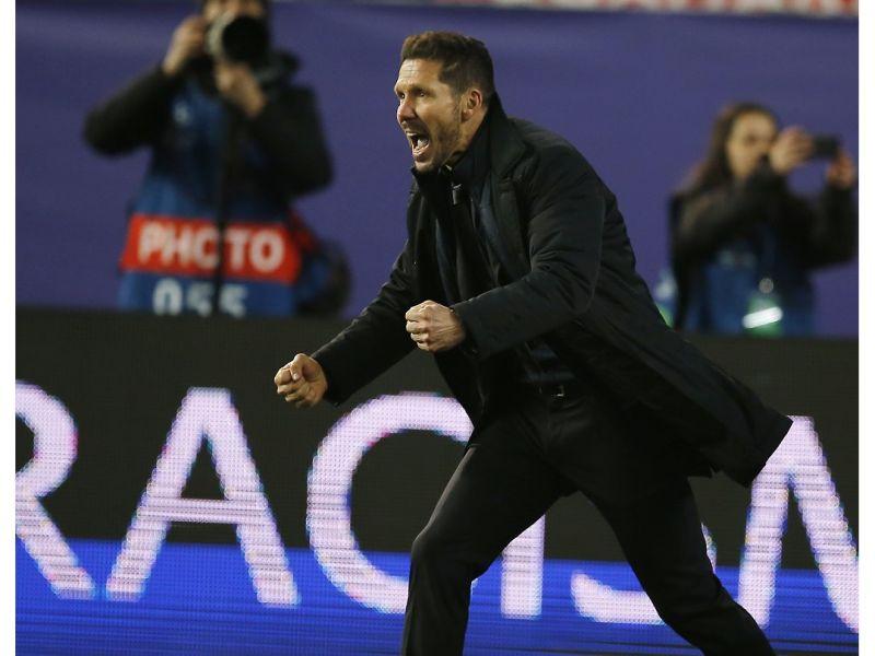 馬競主帥Diego Simeone在看到致勝點球時當下的激動反應。(圖/美聯社/達志影像)
