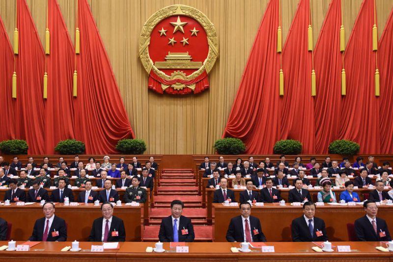 3月16日,十二屆全國人大四次會議在北京人民大會堂閉幕。習近平、李克強、俞正聲、劉雲山、王岐山、張高麗等黨和國家領導人在主席台就座。