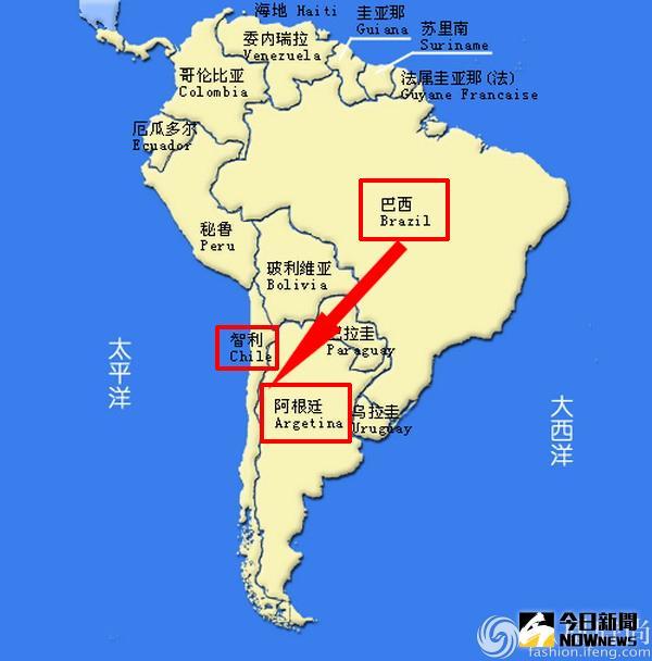 南美洲地圖。