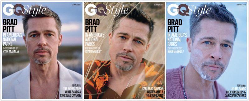 ▲布萊德彼特於離婚後首次對外拍攝雜誌封面,經歷婚變的他顯然憔悴不少。(合成圖/翻攝自《GQ》IG,2017.05.03)