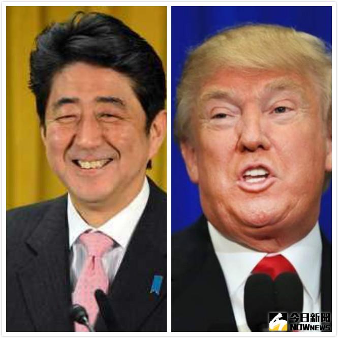 ▲日本首相安倍與川普今(18)日進行不公開的會談,會後安倍表示,川普是「值得信任的領導人」。(圖/合成圖)