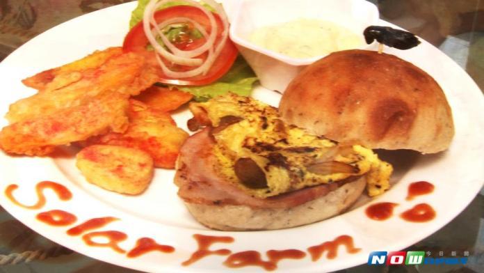蟋蟀漢堡裡的餡料是使用晁陽自種的鴻喜菇及生菜等,再附上大片火腿、番薯條,相當豐盛。