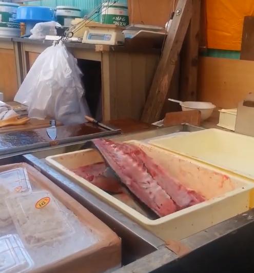 新鮮魚肉被剖半 在攤位上不停彈跳
