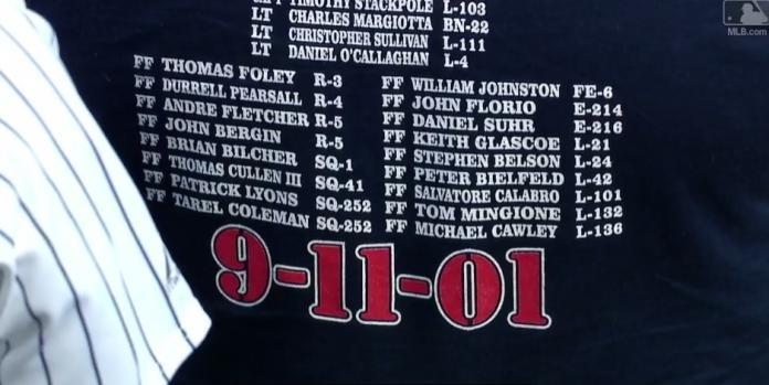 ▲洋基和光芒對戰賽前,舉行911紀念儀式。(圖/擷取自大聯盟官網影片)
