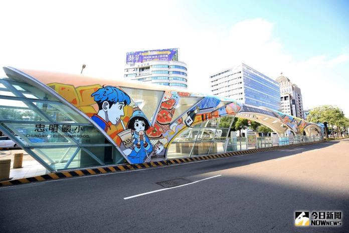 臺中市首座彩繪公車站啟用 動漫融入城市風景