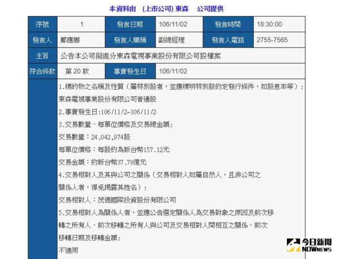 ▲東森國際發出新聞稿表示,東森國際持股東森電視21.32%,將以37.78億元交易價格售予茂德國際投資公司。(圖/翻攝自公開資訊觀測站)