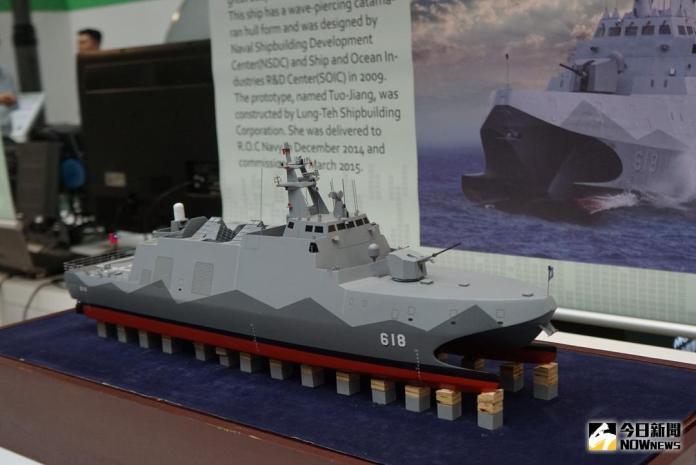 ▲2017年8月台北航太國防展中,海軍展出沱江艦量產型模型。(圖/記者呂炯昌攝