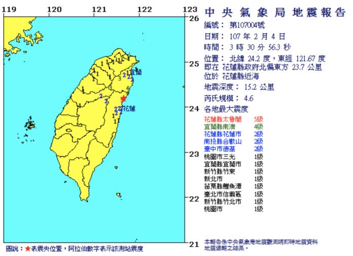 ▲中央氣象局地震報告。(圖/氣象局,2018.2.4)