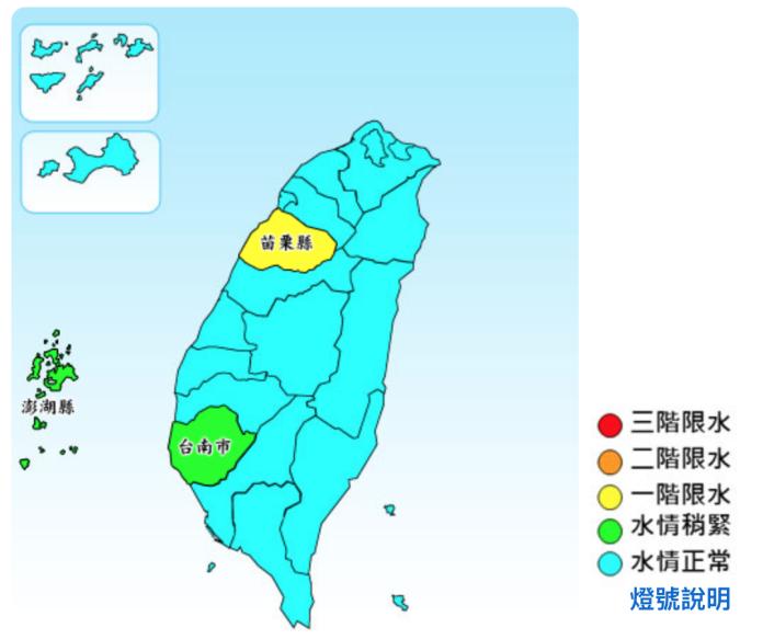 ▲台灣部分地區水情持續不佳,苗栗維持一階限水的黃燈管制,台南、澎湖為水情稍緊的綠燈。(圖/水利署提供)
