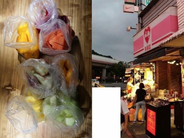 ▲士林夜市水果再爆天價,韓客買這樣一共 7 袋竟要價 1500 元。(圖/翻攝自爆怨公社)