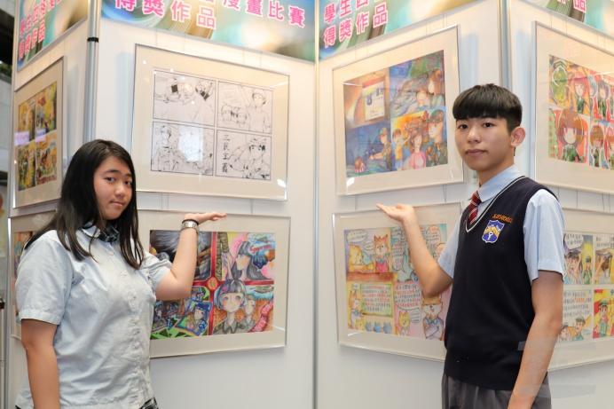 吳偵慈(圖左)與林裕峰,用漫畫結合國防,推動全民國防理念。(軍聞社實習記者沈莛瑋攝)