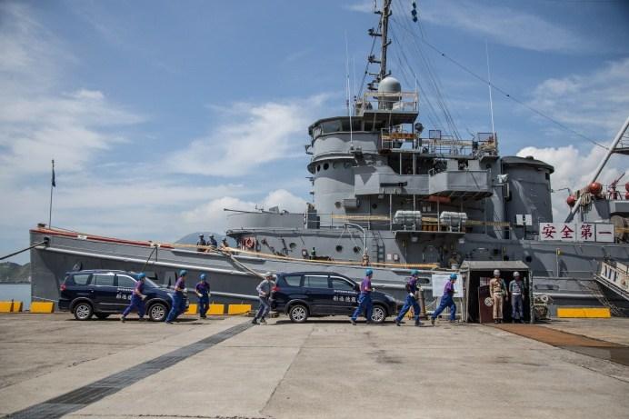▲ 海軍蘇澳後勤支援指揮部5日進行自強35號演習,動員龍德造船廠進行軍艦搶修。(軍聞社記者周力行攝)