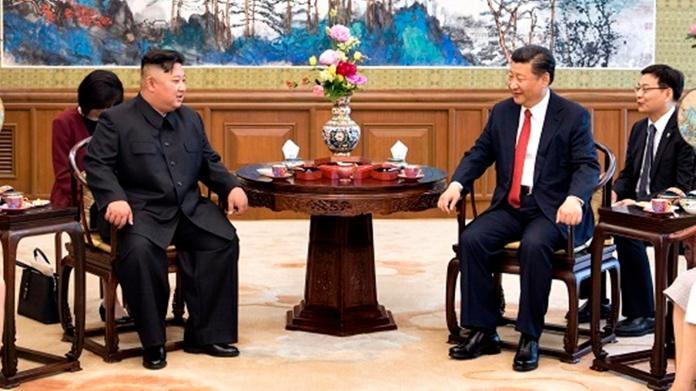▲6月20日,中朝雙方領導人習近平、金正恩在北京釣魚台國賓館第三度會晤。(圖/新華社 \\)