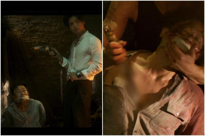 ▲玄彬(左圖右)電影中首次演反派,放話10分鐘殺一個人質。(圖/CJ臉書 , 2018.8.9)