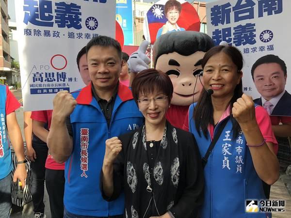 ▲洪秀柱表示,台南是國民黨艱困選區,高思博陷入苦戰中。(圖/記者陳聖璋攝,2018.9.2)