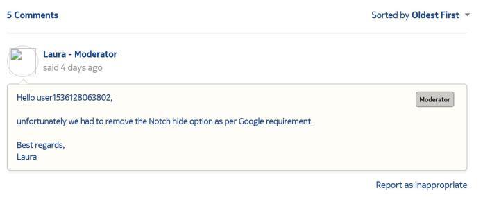 <br> ▲起初 Nokia 官方論壇客服人員回覆是因違反 Android 系統相容性而將 Nokia 6.1 Plus 的隱藏瀏海設置予以刪除。(圖/翻攝Nokia)