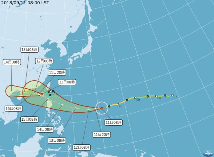 <br> ▲山竹颱風路徑潛勢預測圖(圖/中央氣象局)