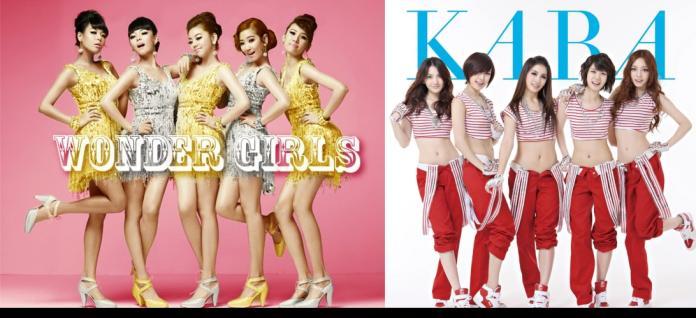 WONDER GIRLS(左)與KARA還有少女時代都是2007年初到的二代女團。(圖/官方臉書)
