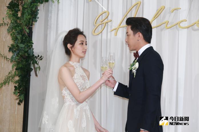 柯佳嬿、坤達舉行浪漫婚禮。(圖/記者葉政勳攝,2018.09.15)