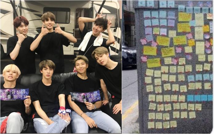 公司樓下貼滿抗議紙條 BTS為粉絲「選擇斷開<b>秋元康</b>」