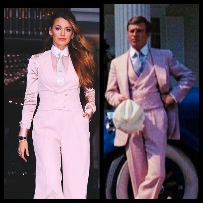▲布蕾克萊芙莉的粉色套裝,與勞勃瑞福(右)有異曲同工之妙。(圖/翻攝布蕾克萊芙莉推特,2018.09.22)