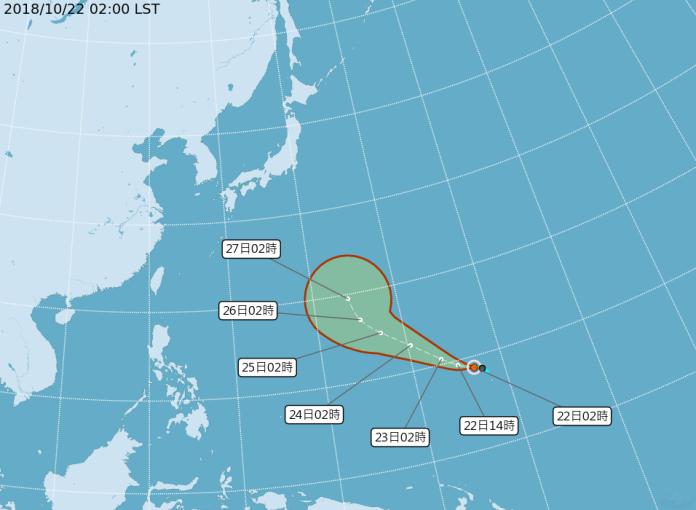 ▲今(22)日凌晨 2 時,「玉兔」颱風生成,暫不影響台灣。(圖/取自中央氣象局)