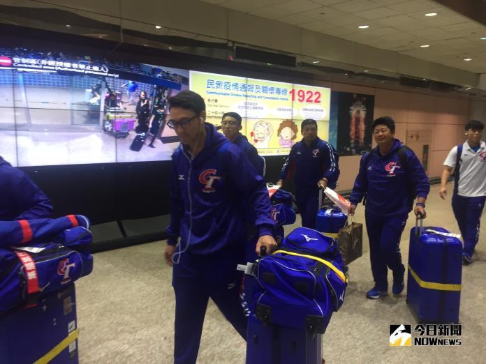 U23中華隊抵台。(吳政紘攝)