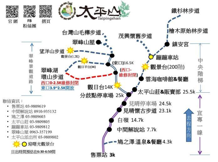 太平山森林遊樂區路線圖。