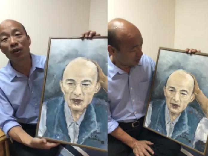 ▲一幅由「韓粉」親手繪製的韓國瑜肖像油畫,讓他感動不已。(圖/翻攝自臉書)