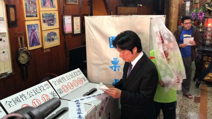 ▲行政院長賴清德回台南投票。(圖/記者陳聖璋攝,2018.11.24)