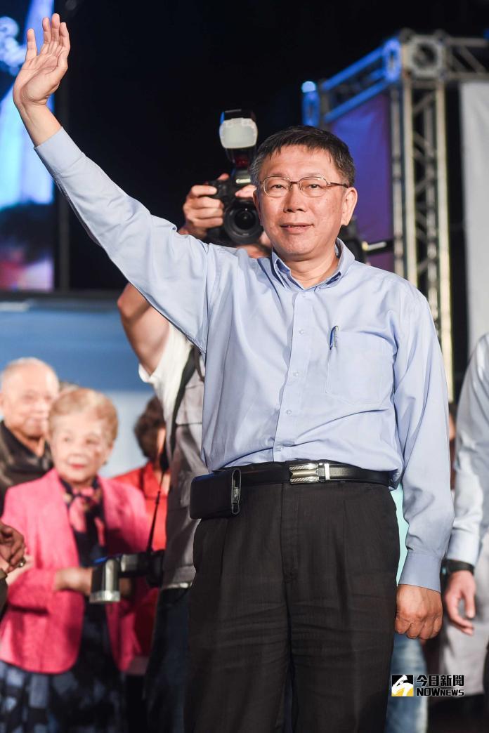 柯文哲以三千票之差險勝丁守中,連任台北市長。(圖/記者陳明安攝,2018.11.25)