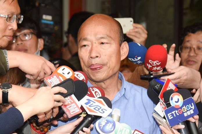 韓國瑜在台北接受大批媒體訪問。(圖/記者陳明安攝,2018.11.28)