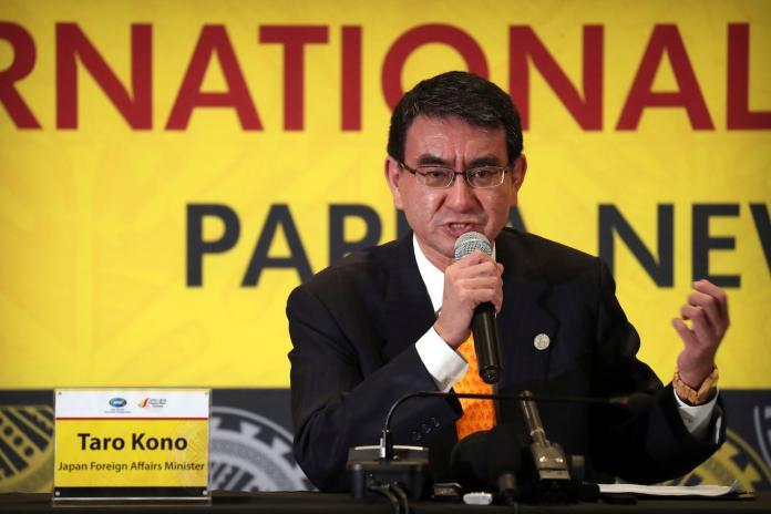 ▲反核食公投過關,日本外務大臣河野太郎29日表示,不排除向WTO提出爭端解決程序。(圖/達志影像/美聯社)