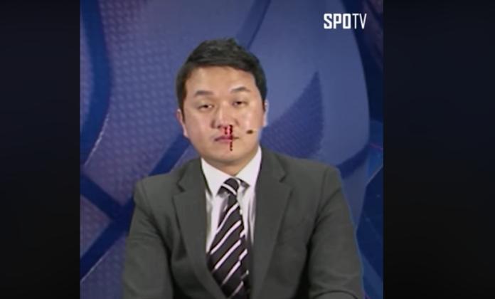 韓國體育主播播報時流鼻血。(取自SPOTV)