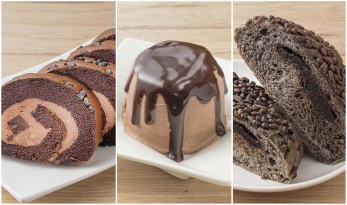 ▲全聯推出的冰心捲蛋糕、經典巧克力布丁、經典巧克力巨蛋麵包。(圖 / 翻攝自全聯)
