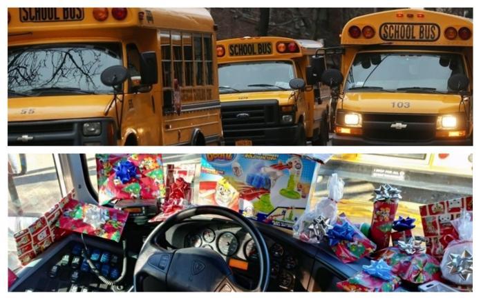 ▲美國一小學校車司機,替全車小朋友準備了驚喜聖誕禮物。(圖/上翻攝自網路,下翻攝自Lake Highlands 小學臉書)