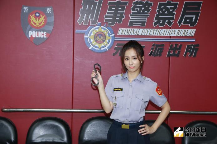▲周曉涵在新戲《必勝大丈夫》飾演強悍女警。(圖/記者葉政勳攝 , 2018.12.26)