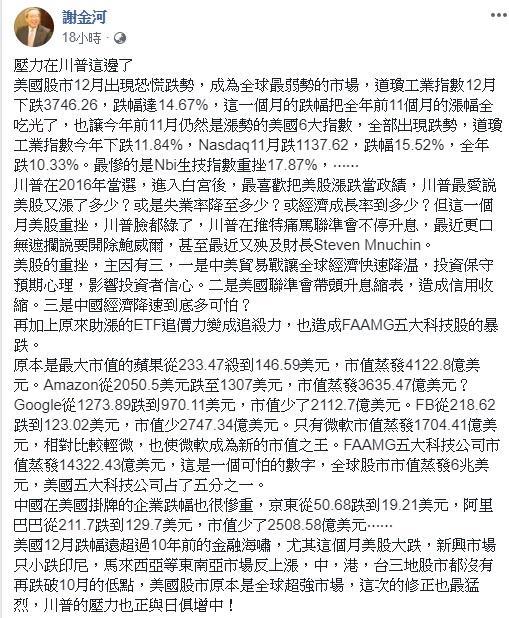 ▲(圖/翻攝自謝金河臉書)