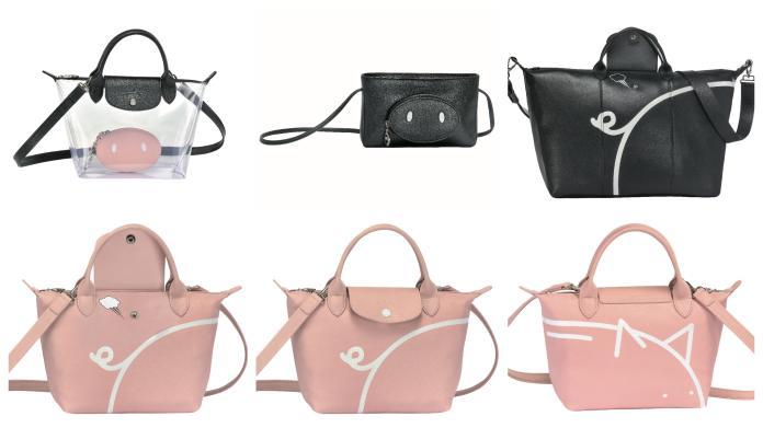 <br> 上排由左至右:PVC 托特包,參考售價 NT$13,300、小羊皮手拿包,參考售價 NT$8,800、小羊皮旅行袋,參考售價 NT$33,700。下排為各種角度的小羊皮手袋,參考售價 NT$17,800。圖@Longchamp