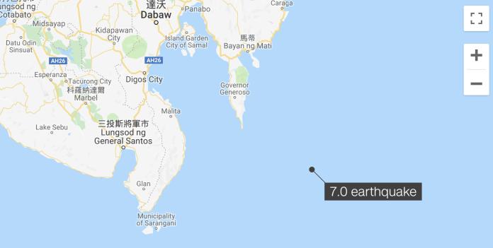 <br> 菲律賓規模6.9強震震央位於桑托斯將軍城以東193公里。(圖/翻攝GoogleMap)