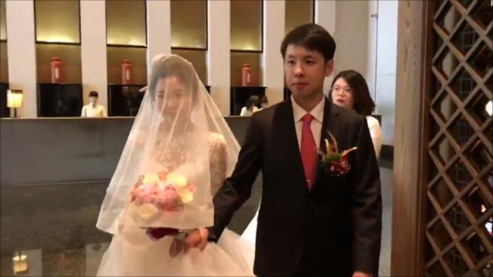 ▲賴清德長子賴廷與歡喜迎娶美嬌娘。(圖/記者陳聖璋攝)