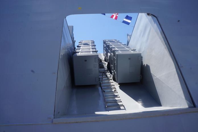 ▲沱江艦在2018年7月完成雄三實彈射擊,並精準命中靶艦,海軍因此在彈艙上漆上黃星功標。(圖/記者呂炯昌攝)