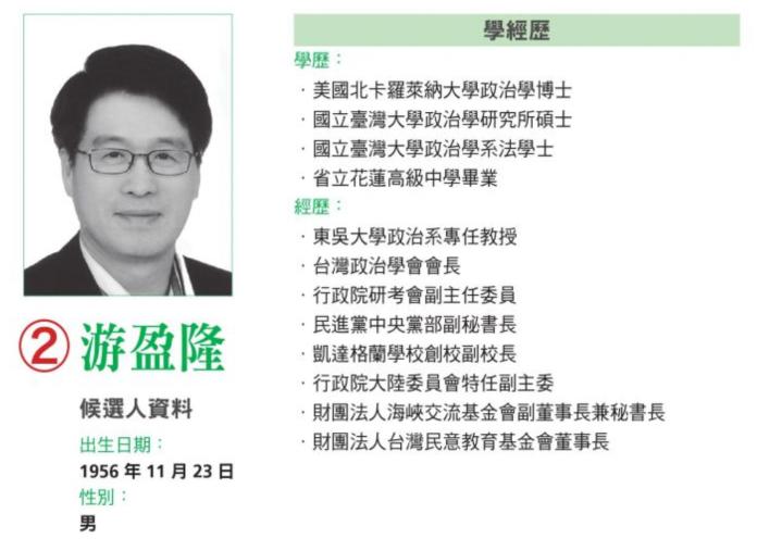 民進黨主席候選人游盈隆小檔案。(資料來源/民進黨)