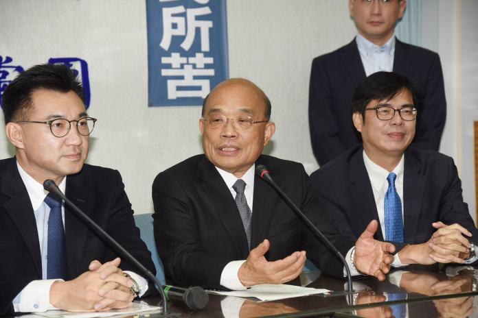 行政院長蘇貞昌15日拜會國民黨立法院黨團時表示,他沿路走來就是一個信念,「真的我們就是一個國家,我們就是台灣」,人民最大。(圖/記者陳明安攝,2019.01.15)