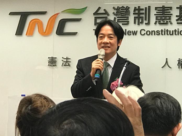 前行政院長賴清德出席「台灣制憲基金會」開幕式。(圖/記者王鼎鈞攝,2019.1.23)
