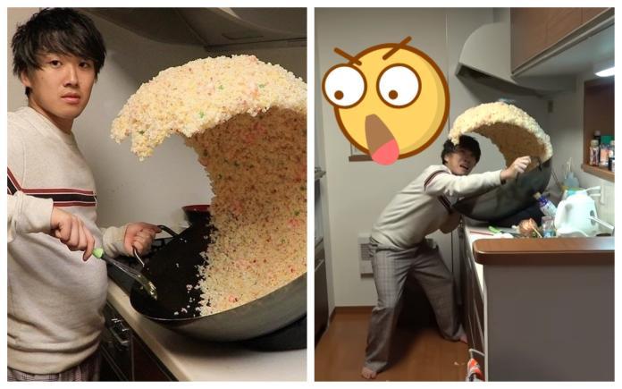 <b>食神</b>是你?超狂「炒飯衝浪」翻鍋照瘋傳 網友全都跪了