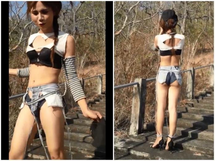 <br> ▲泰國一名女子穿超前衛的破洞牛仔褲出門,讓人大嘆看不懂時尚。(圖 / 翻攝自臉書「泰國清邁象」)