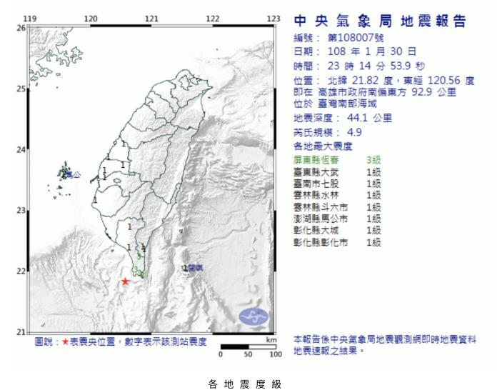 ▲全台震一天!高雄發生規模4.9地震,南台灣「猛力一搖」。(圖/翻攝自中央氣象局)